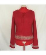 Fuzzy 65% Angora Sweater Medium Xhilaration Red Rabbit Hair Knit Nordic ... - $39.95