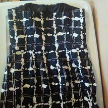 NWT Express Design Studio Size 8 Black, White Printed Strapless Dress image 4