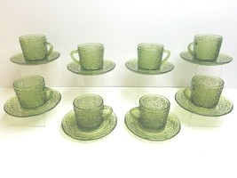 8 Anchor Hocking Avocado Green Soreno VTG Coffee Tea Cup Saucer MCM Decor Sets - $46.40