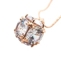 Golden Cube Crystal Necklaces Pendants Women Fashion Jewelry Gift - $37.68
