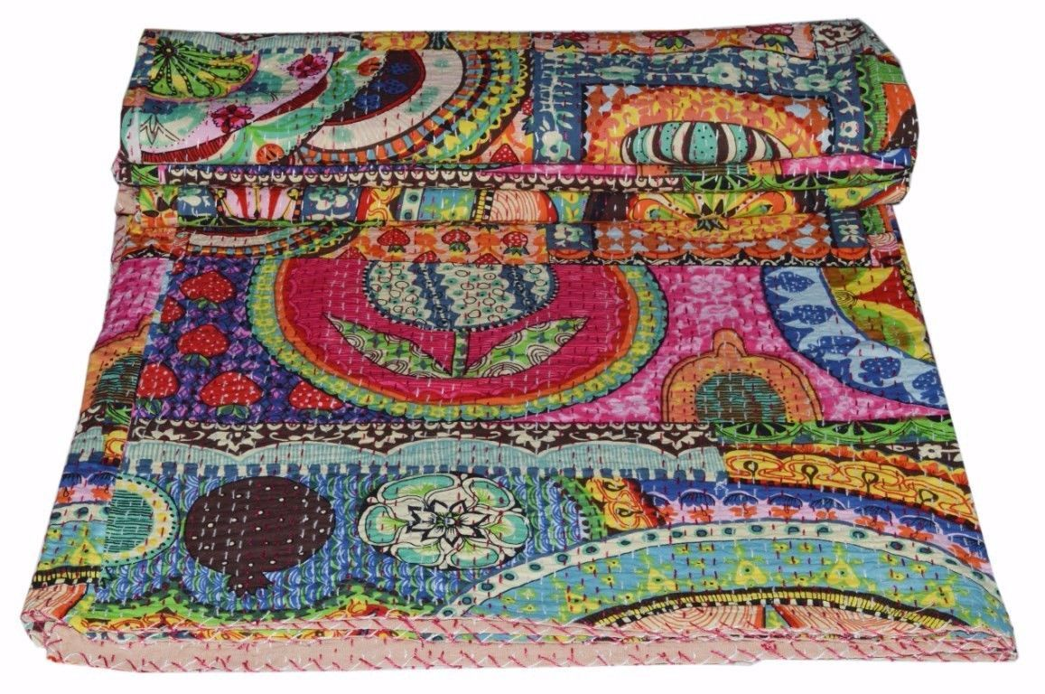 Primary image for Indian Kantha Quilt King Size Bedsheet Floral Handmade Cotton Bedspread Throw