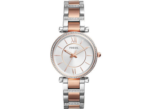 Fossil Carlie Women's Analog Silver RoseGold Stainless Steel Quartz Watch ES4342
