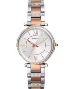 Fossil Carlie Women's Analog Silver RoseGold Stainless Steel Quartz Watc... - $109.99
