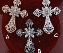 10pcs Cross Rhinestone Button,Crystal Embellishment Brooch Bouquet Buttons - $19.50