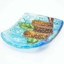 Fused Art Glass Rustic Forest Pinecone Design Soap Dish Handmade in Ecuador image 3