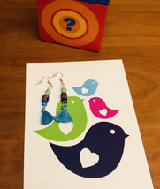 Dangling polymer clay beaded tasseled earrings—handmade—Bright and colorful - $10.00
