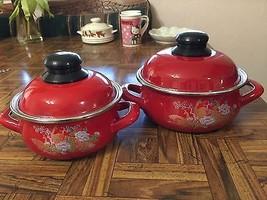 Pair Discontinued SAVASAN Red Porcelain Enamel ... - $31.68