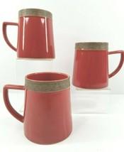 3 Sango Rustic Cranberry 5134 Coffee Tea Mug Set Replacement Red Dinnerw... - $33.53