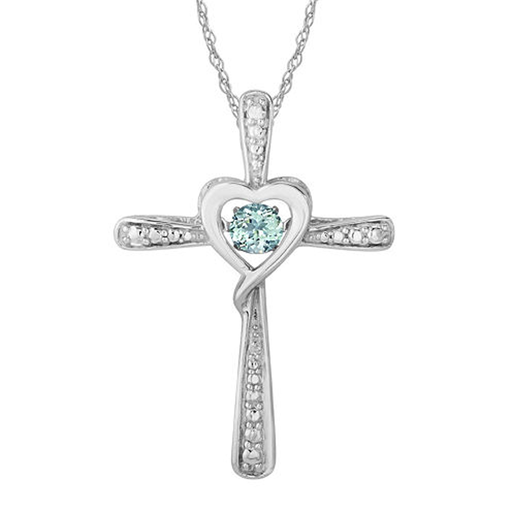 "Primary image for Aquamarine and Sim.Diamond-Accent Heart & Cross Pendant With 18"" Necklace"