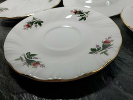 """Set of 4 Lynns Fine China Victorian Rose Swirl 6"""" Saucers Gilted Gold Ri... - $28.41"""