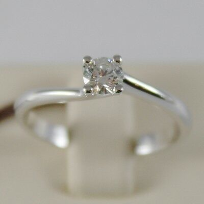 18K WHITE GOLD SOLITAIRE WEDDING BAND TWISTED RING DIAMOND 0.26 MADE IN ITALY
