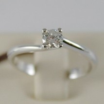 18K WHITE GOLD SOLITAIRE WEDDING BAND TWISTED RING DIAMOND 0.26 MADE IN ITALY image 1