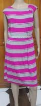 Calvin Klein Pink Gray Striped Casual Sleeveless Dress w/Belt  NWT SZ 12 - $26.53