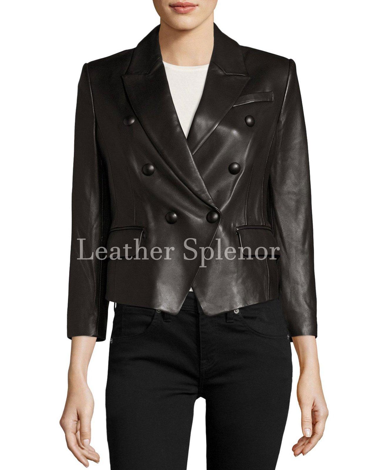 Trendy Women Cropped Trendy Leather Blazer