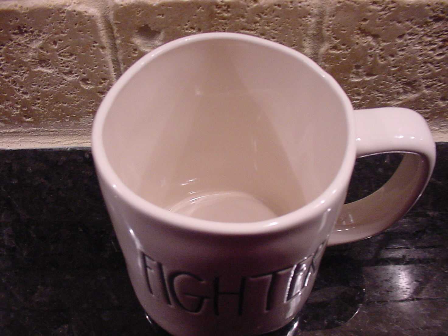 Rae Dunn FIGHTER Rustic Mug, Ivory with Black Letters, New!