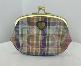 Coach Coin Purse Daisy Madras Framed Kisslock Pastel Plaid 63525 W8 - $44.09