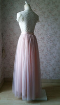 Sleeveless Crop Lace Long Tulle Skirt Pink Rustic Bridesmaid Dresses Plus Size image 8