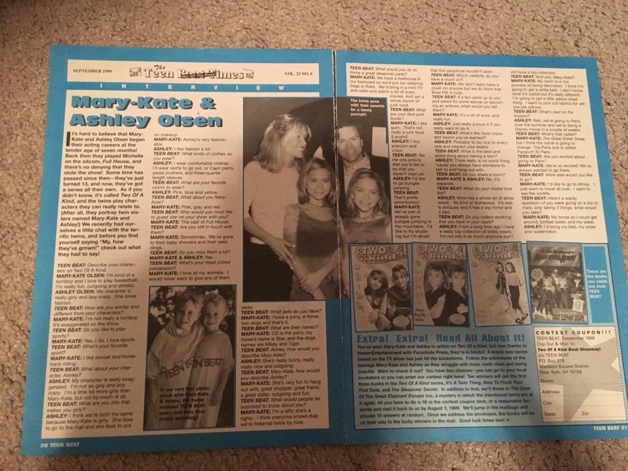 Mary Kate Olsen Ashley Olsen teen magazine pinup clipping Full House 2 page 90's