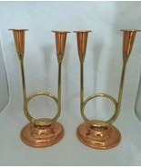 2 Vintage 10 Inch Coppercraft Guild Double Candlesticks Made in USA - $16.99