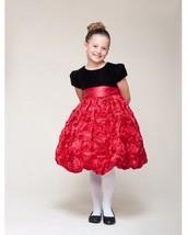 Dressy Velvet Top Swirl Floral Red Skirt Pageant Flower Girl Dress Crayo... - $53.99