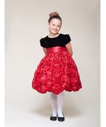 Dressy Velvet Top Swirl Floral Red Skirt Pageant Flower Girl Dress Crayon Kids - $53.99