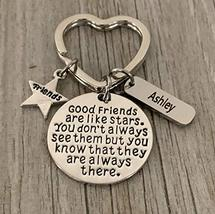 Personalized Best Friends Charm Keychain with Name Engraved- Custom Good... - $14.99