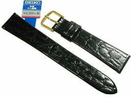 SEIKO Watchband 18mm DAP7 Cowhide Crocodile Shaped Black Mens Japan - $35.25