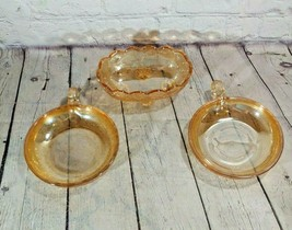 Set of 3 Vintage Floral Light Amber Carnival Glass Candy Bowl w/ Handle ... - $24.74