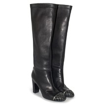 CHANEL Black Stretch Leather Knee High Block Heel Boots Round Toe Zip Up... - $792.18