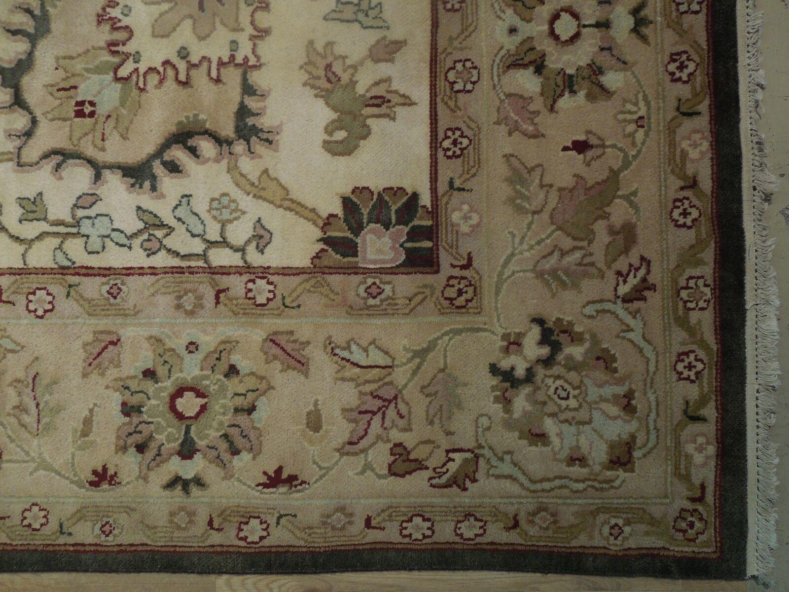 Agra Wool Handmade Rug 10 x 14 Oriental Ivory Rug image 7