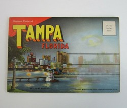Vintage 1945 Tampa FL Fold-Out Postcard Views Folder - Curt Teich & Co   D-7914 - $8.99