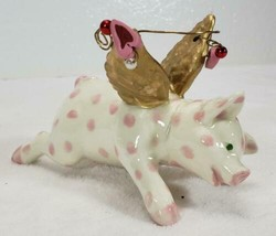 Flying Pig Christmas Ornament with Pink Polka Dots - $14.99