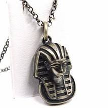 Anhänger Halskette, Silber 925, Brüniert Matt, Kopf Pharao, Kette Rolo image 1
