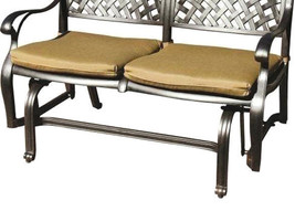 Patio bench love seat Nassau Cast Aluminum furniture Outdoor glider Couch Bronze image 2