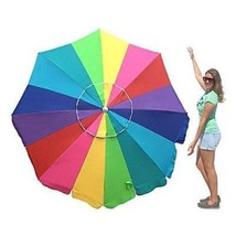 EasyGo 7 Foot Rainbow Beach Umbrella Kids - Portable Wind Large – Foldin... - $75.48 CAD