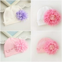 Spring Cute Big Flowers Newborn Baby Hat Knitting Super Soft  Baby Cap I... - $5.63