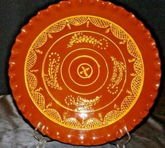Redware Collector Plate signed Ceramics AA20-2310 Vintage