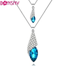 Statement Maxi Blue Crystal Heart Water Drop Chain Steelers Chokers Pend... - $12.99