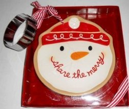 "Christmas Santa Cookie Plate ""Share The Merry"" With Cookie Cutter [Brand New] - $27.61"