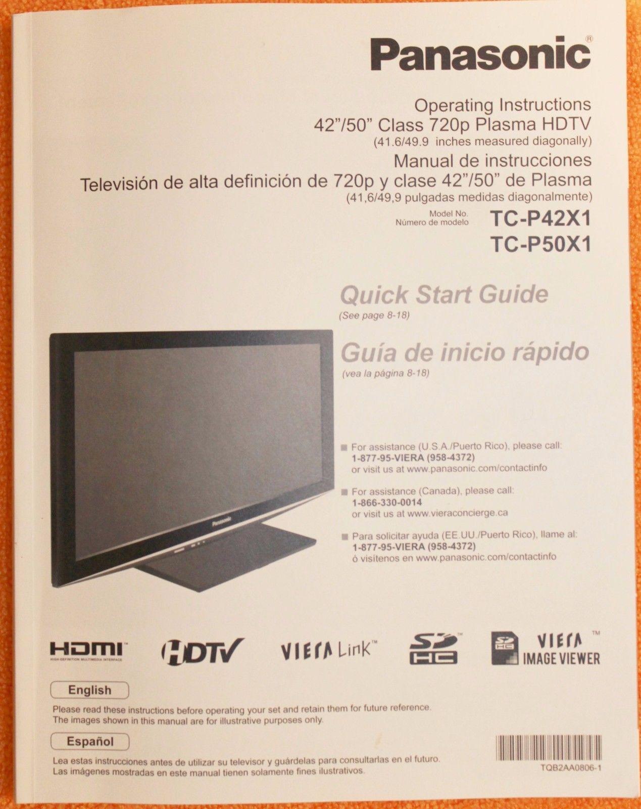 panasonic tc p50x1 tc p42x1 operating and similar items rh bonanza com tc-p50x1 manual tc-p50x1 manual pdf