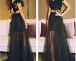 Black off shoulder tulle long two pieces party evening prom dresses online pd0081 thumb155 crop
