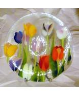 "Vintage Art Glass Signed Genesis Fused Glass Tulips Bowl 9 1/4"" - $24.74"