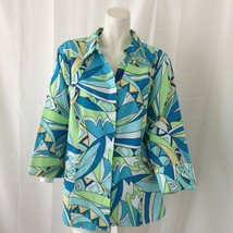 Chico's Womans Blue Green Yellow Vintage Retro Button Down Dress Shirt S... - $31.68
