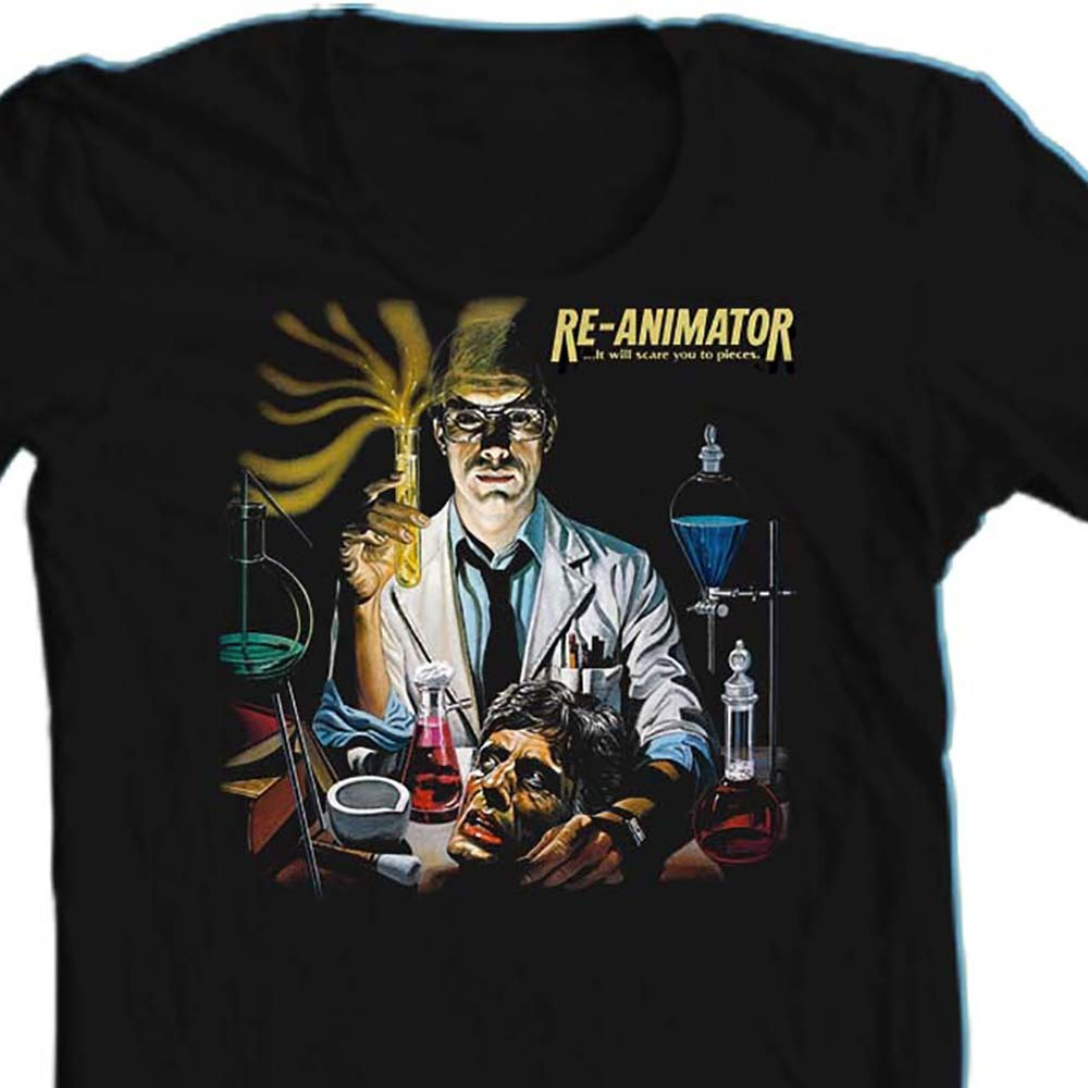 Re animator t shirt retro sci fi horror movie film black tee