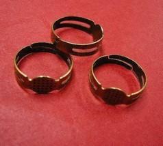 6pc antique bronze ring shanks-4902 - $1.75