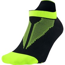 Nike Elite Run Lightweight No-Show Socks Black/Volt/Volt, 14.0-16.0 - $9.89
