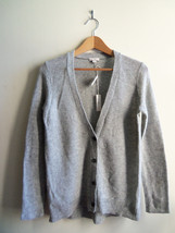 Gap Women's Shimmer Metallic Wool Blend Cardigan Sweater Silver Size Small NWT - $38.08