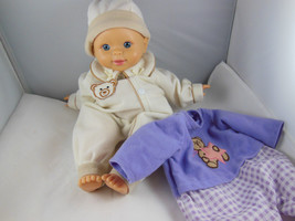 2006 Fisher Price Little Mommy Baby Doll Bald with Blue Eyes 2 outfits - $19.79