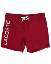 Lacoste Men's Premium Surf Swim Trunks Board Shorts Bordeaux Red