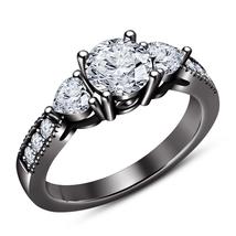 Engagement Three Stone Ring Round Cut White CZ Black Rhodium Finish 925 Silver - $72.99